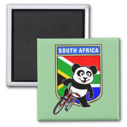 South Africa Cycling Panda Square Magnet