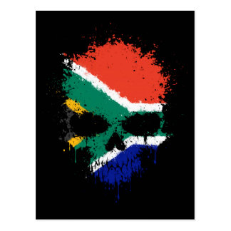 South Africa Dripping Splatter Skull Postcard
