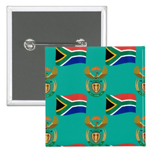 South Africa Flag and Crest Pinback Buttons