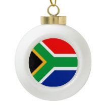 South Africa Flag Ceramic Ball Christmas Ornament