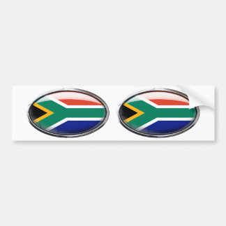 South Africa Flag Glass Oval Bumper Sticker
