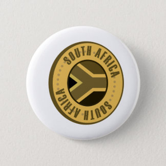 South Africa Flag Gold Coin Button