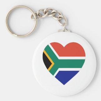 South Africa Flag Heart Basic Round Button Keychain