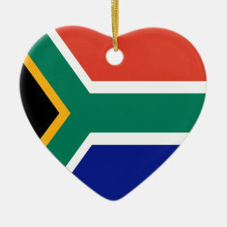 South Africa Flag Heart Ceramic Ornament