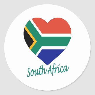 South Africa Flag Heart Classic Round Sticker