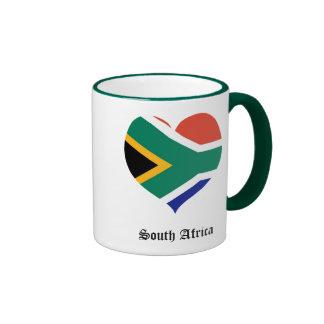 South Africa flag heart Ringer Coffee Mug