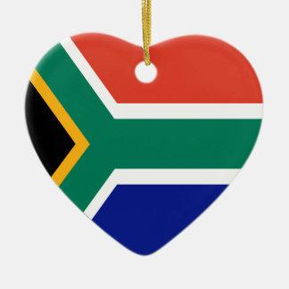 South Africa Flag Heart Christmas Tree Ornament