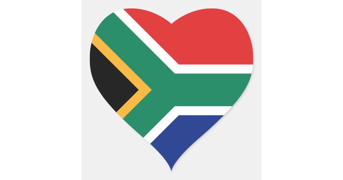 South Africa Flag Heart Sticker Zazzle
