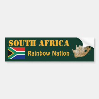 South Africa Flag + Map Bumper Sticker