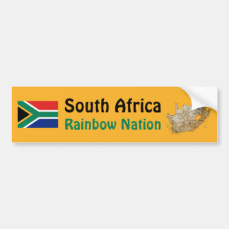 South Africa Flag + Map Bumper Sticker
