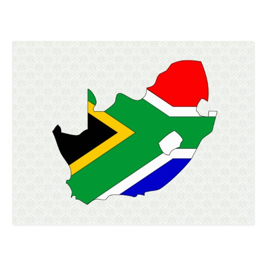 South Africa Flag Map full size Postcard
