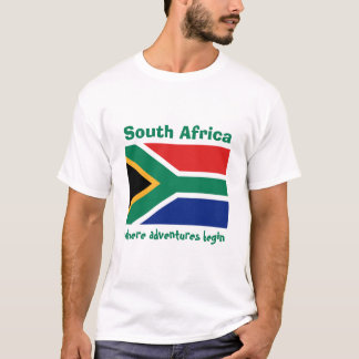 South Africa Flag + Map + Text T-Shirt