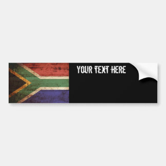 South Africa Flag on Old Wood Grain Bumper Sticker