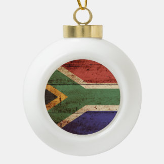 South Africa Flag on Old Wood Grain Ceramic Ball Christmas Ornament