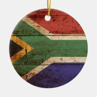 South Africa Flag on Old Wood Grain Ceramic Ornament