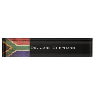 South Africa Flag on Old Wood Grain Nameplate