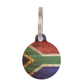 South Africa Flag on Old Wood Grain Pet Name Tag