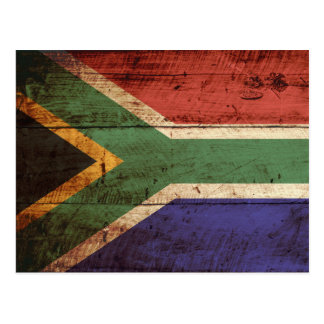 South Africa Flag on Old Wood Grain Postcard