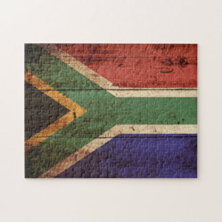 South Africa Flag on Old Wood Grain Jigsaw Puzzle