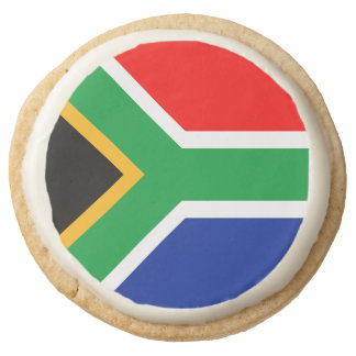 South Africa Flag Round Shortbread Cookie