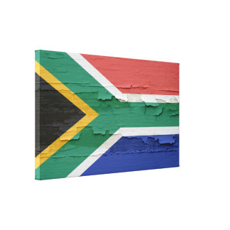 South Africa Flag Weathered Paint Canvas Print