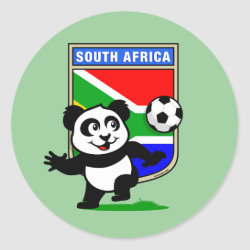 Round Sticker with South Africa Football Panda design