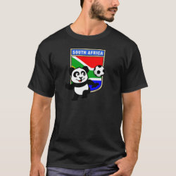 Men's Basic Dark T-Shirt with South Africa Football Panda design