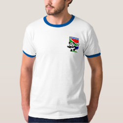 Men's Basic Ringer T-Shirt with South Africa Football Panda design