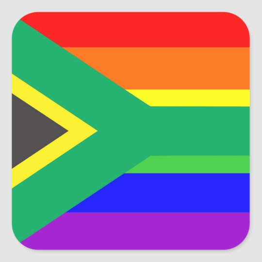 south africa gay proud rainbow flag country square sticker