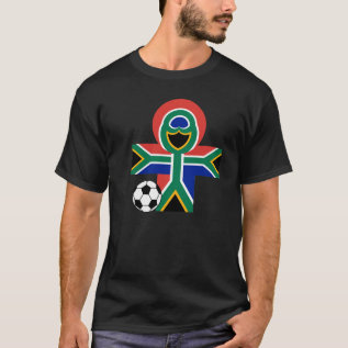 South Africa Happy Flag Soccer Football Dark T T-shirt at Zazzle