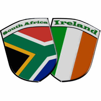 South Africa & Ireland Friendship Flag Badge Theme Standing Photo Sculpture