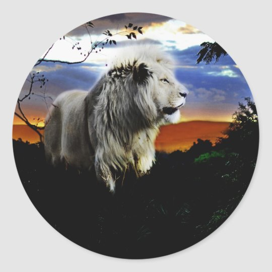 South Africa Lion in the Jungle Classic Round Sticker