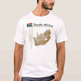 South Africa Map + Flag + Title T-Shirt