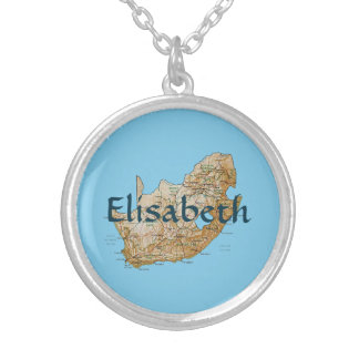 South Africa Map + Name Necklace