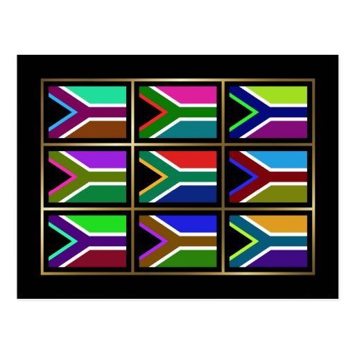 South Africa Multihue Flags Postcard