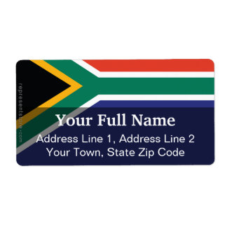 South Africa Plain Flag Label