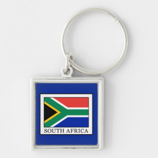 South Africa Silver-Colored Square Keychain