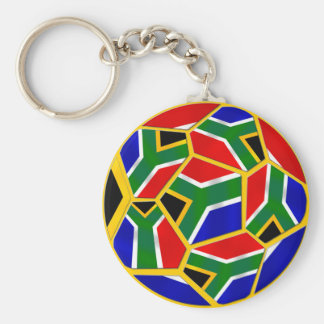 South Africa soccer Ball with Aouth African flag Basic Round Button Keychain
