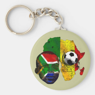 South Africa soccer lovers South AFrican flag face Basic Round Button Keychain