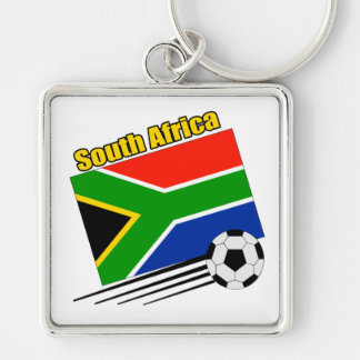 South Africa Soccer Team Silver-Colored Square Keychain
