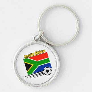 South Africa Soccer Team Silver-Colored Round Keychain