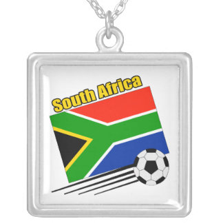 South Africa Soccer Team Square Pendant Necklace