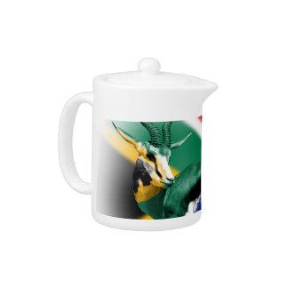 South Africa Springbuck Flag Teapot
