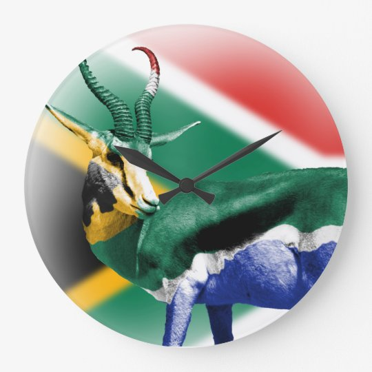 South Africa Springbuck Flag Wall Clock