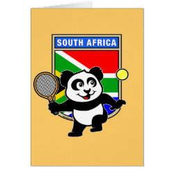 Greeting Card with South Africa Tennis Panda design