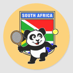 Round Sticker with South Africa Tennis Panda design