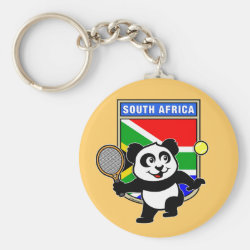 Basic Button Keychain with South Africa Tennis Panda design