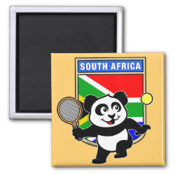 Square Magnet with South Africa Tennis Panda design