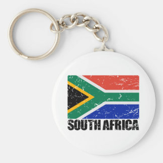 South Africa Vintage Flag Basic Round Button Keychain