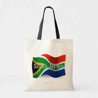 South Africa Waving Flag Tote Bags